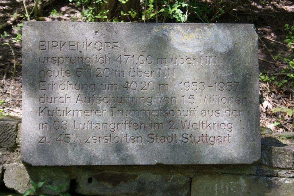 Gedenktafel auf dem Birkenkopf