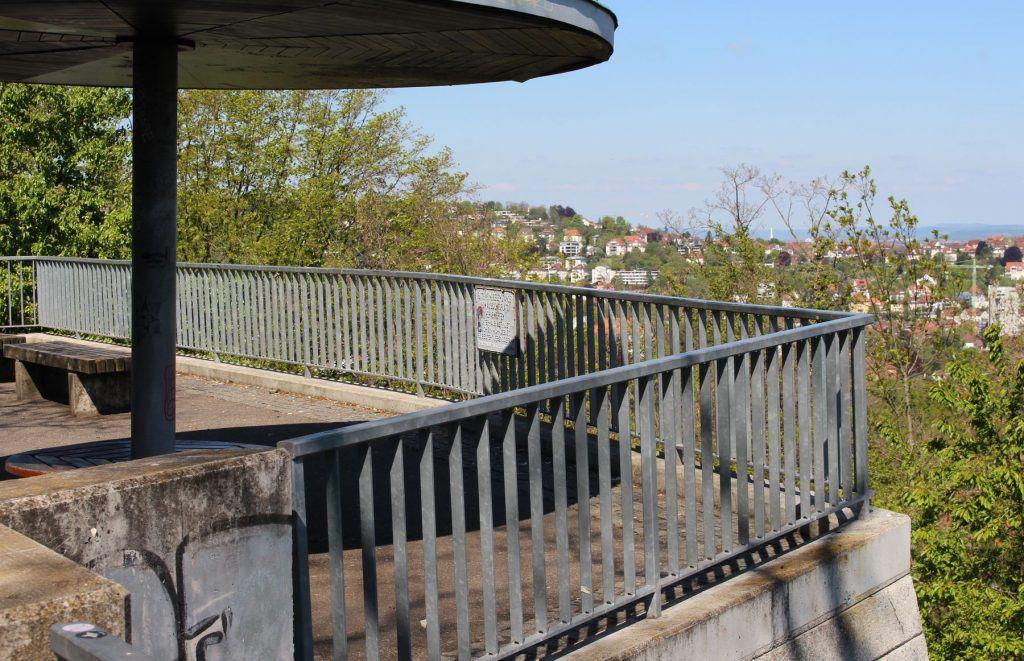 Die Aussichtsplattform an der Zeppelin-Strasse in Stuttgart