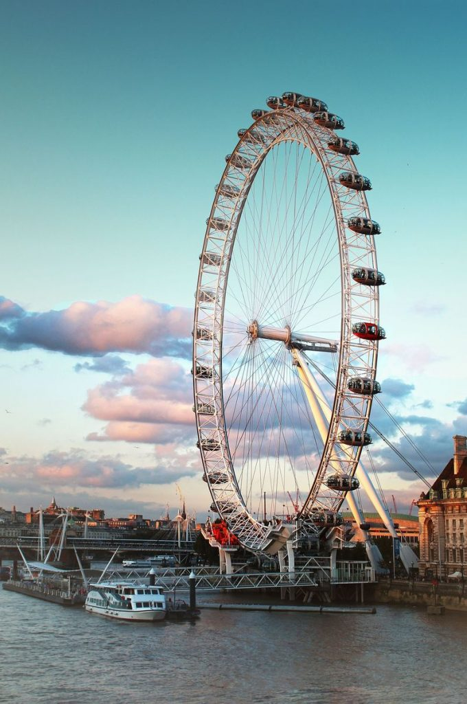 The London Eye ferris wheel is right on the Thames