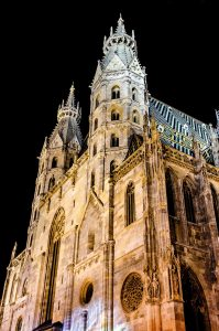 St. Stephen's Cathedral in Vienna at night