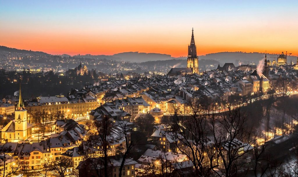 View over the old town of Bern in winter