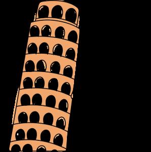 Zeichnung von einem Männchen, der den schieden Turm von Pisa hält