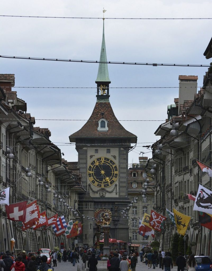 Zytglogge and Gerechtigkeitsgasse with arcades in the old town of Bern